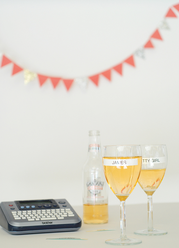 Office labels as drink markers - 13 great summer party hacks | A Subtle Revelry