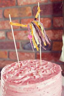 Fringed fabric cake top