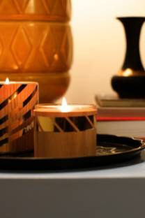 wooden and gold candles