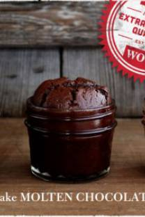 Molten chocolate cake in a jar
