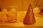 glittered hats and cake