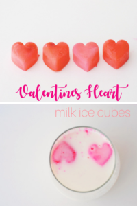 Valentines heart milk ice cubes