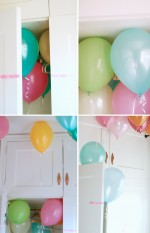 a closet filled with balloons
