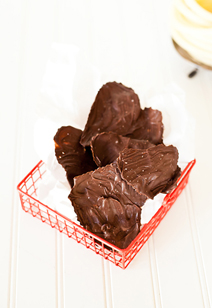 dark chocolate maple leaves with sea salt