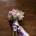 Scarf wrapped floral bouquet