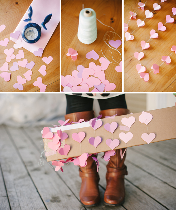Dimensional heart garland a subtle revelry for Heart decoration ideas