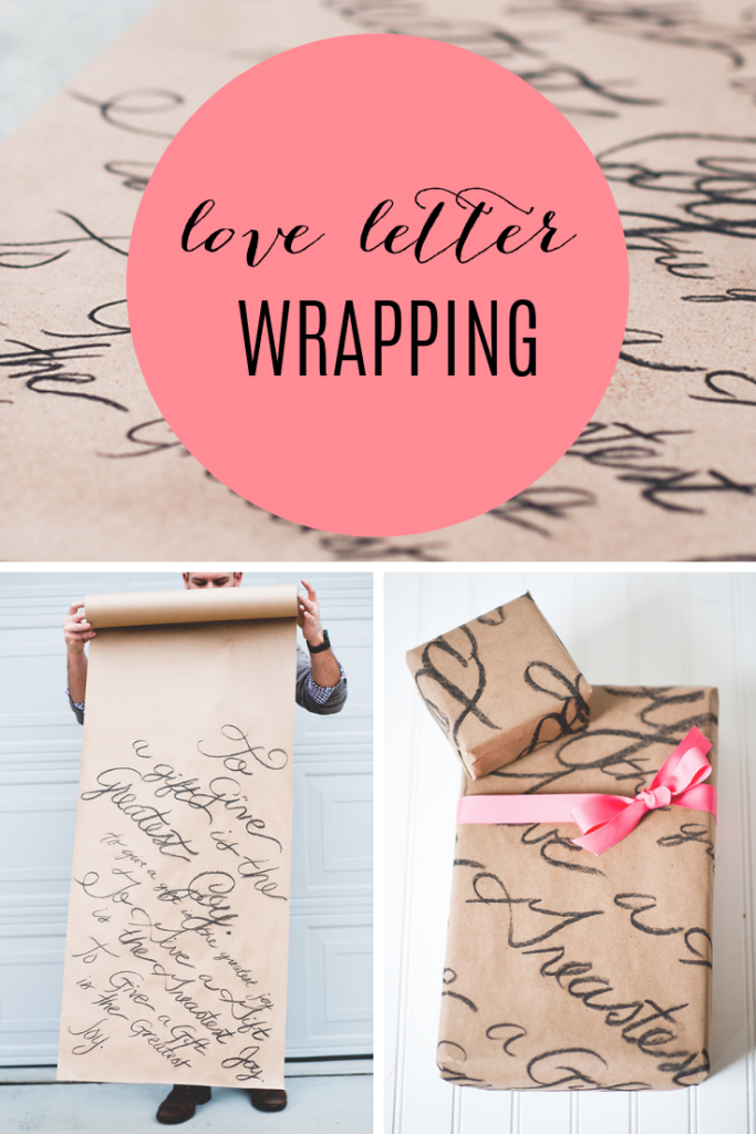 love letter font wrapping paper