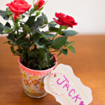 Washi tape dixie cup vase