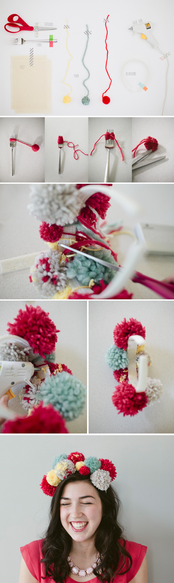 How to make a party pom headband