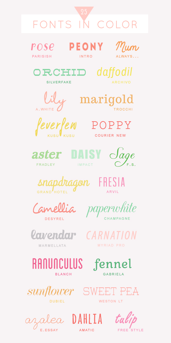 25 free colorful fonts • A Subtle Revelry