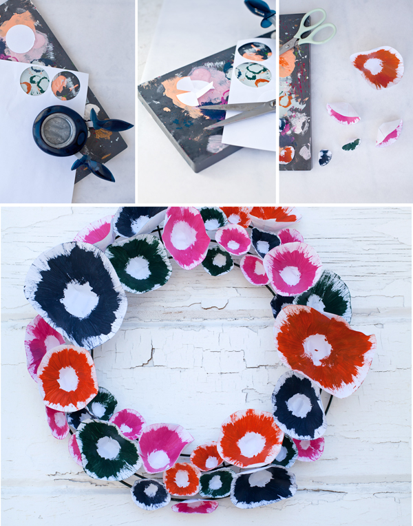 DIY paper painted floral wreath | A Subtle Revelry