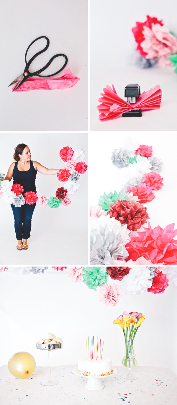 how to make tissue paper flower garland