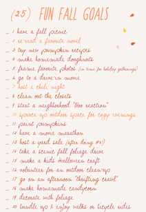 fun goals for fall