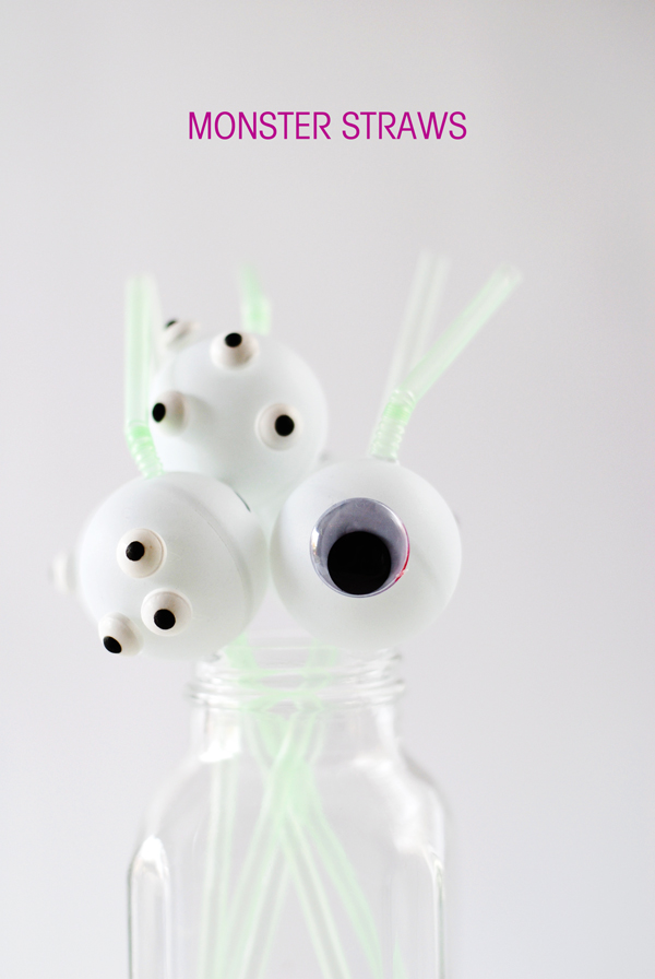 Monster straws with goggly eyes