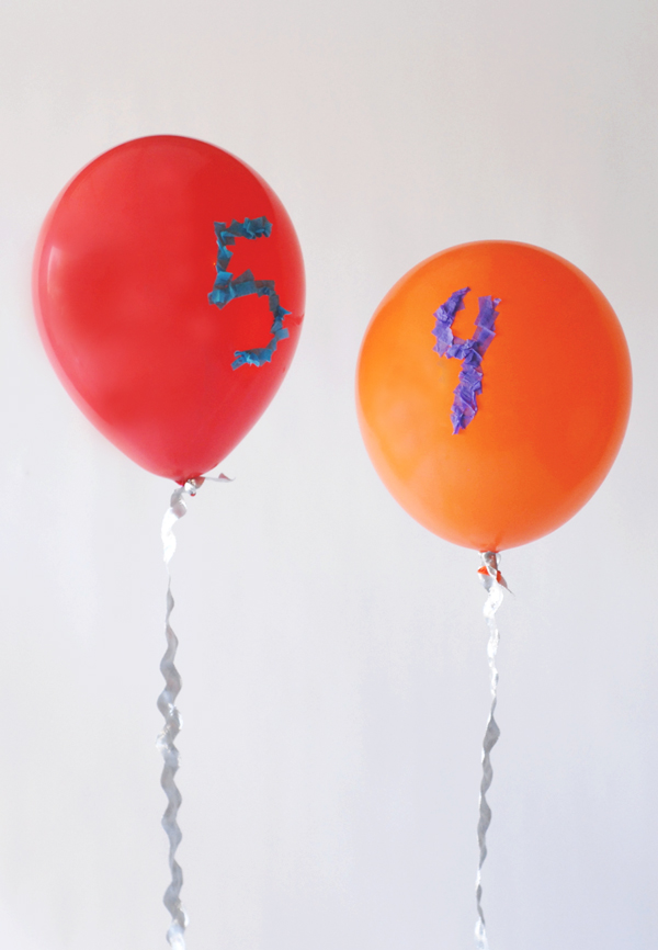 DIY confetti team number balloons