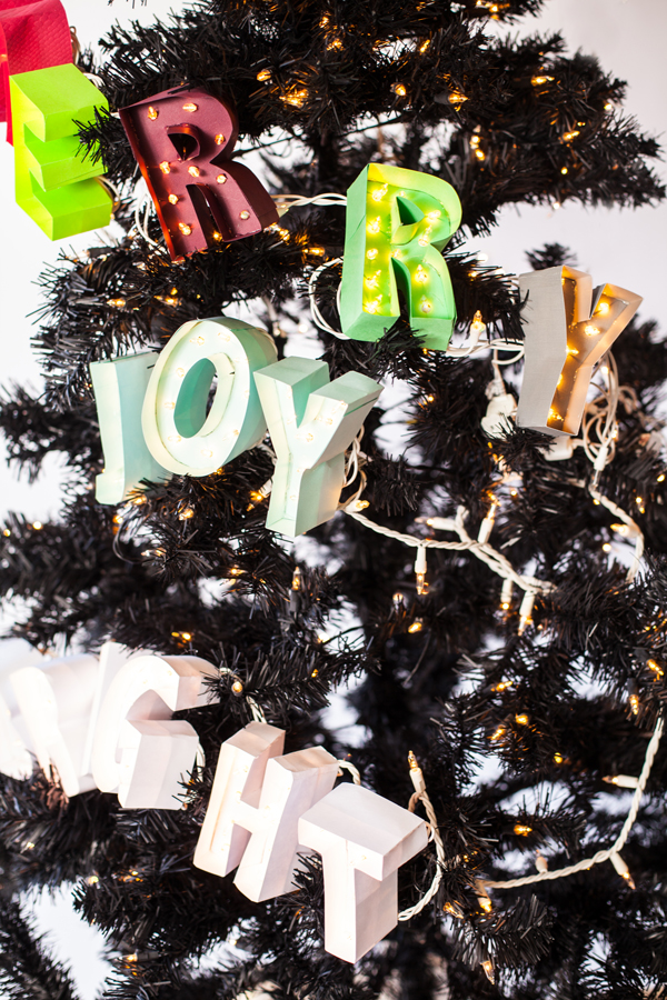 Miniature marquee garland for the Christmas tree! A Subtle Revelry