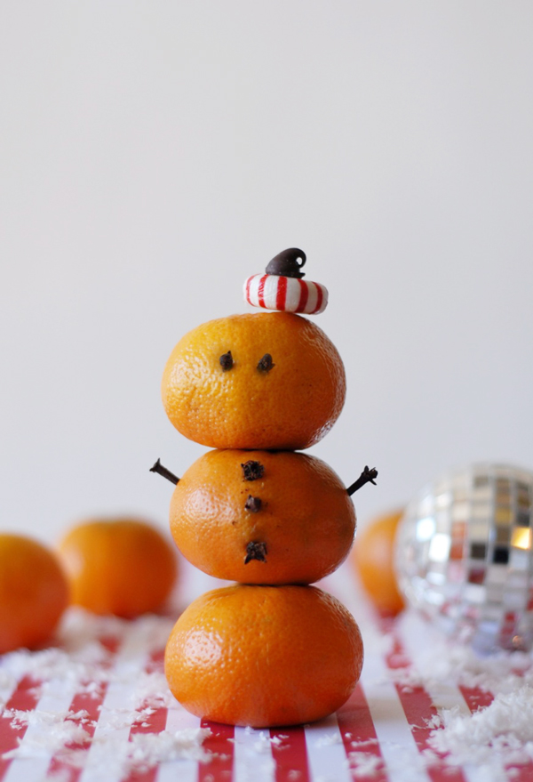 Office party holiday hacks | orange snowman for the coffee bar