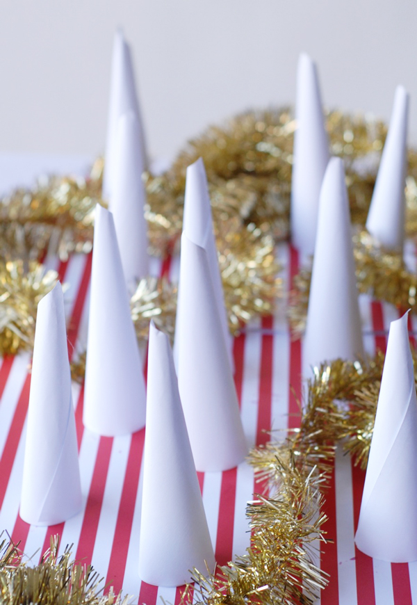 Holiday Office Party Hacks | Recycled Paper Snowy Forest
