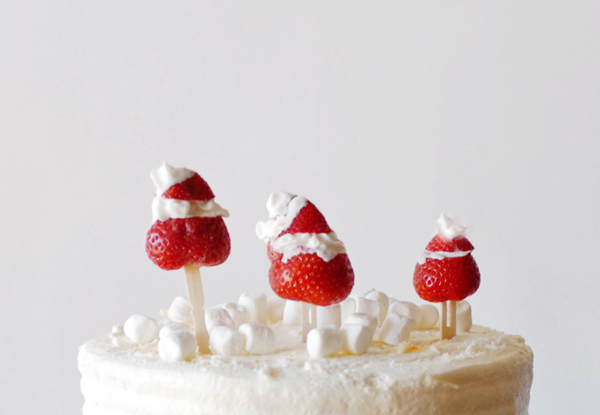 8 Holiday Office Party Hacks | Strawberry Santa Cake