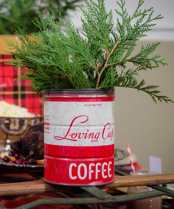 Stick evergreen sprigs in old coffee cans for last minute holiday decor.
