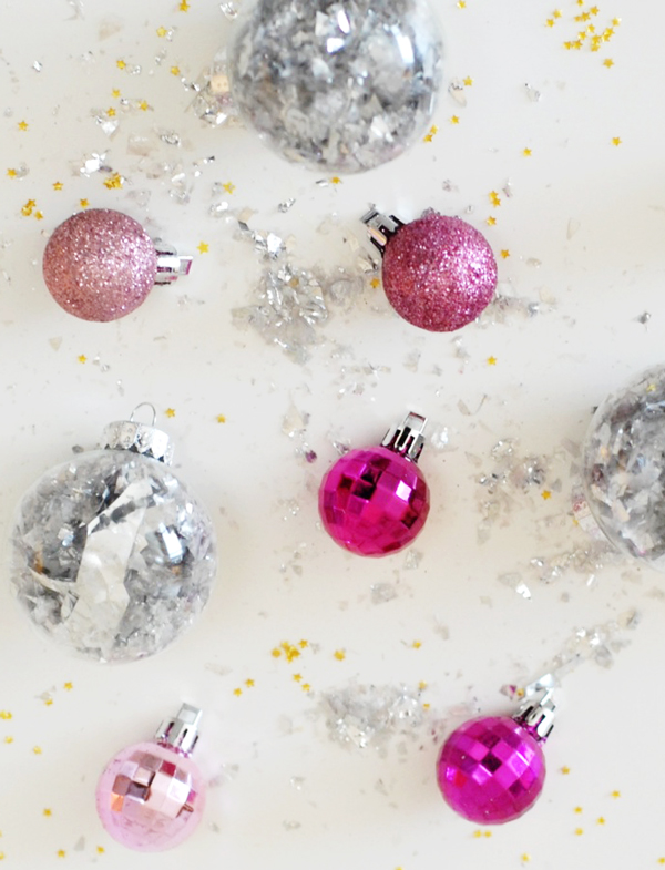 New Years Eve Party Hacks - diy ornament disco balls