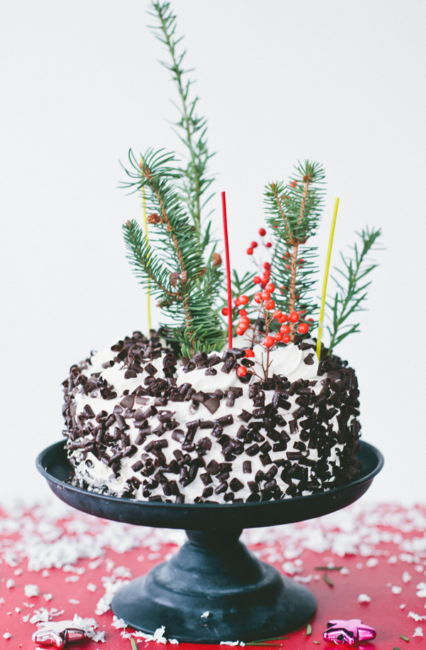 winter wonderland cake with evergreen sprigs >> A Subtle Revelry