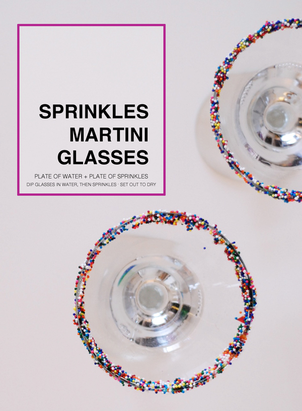 New Years Eve Party Hacks - How to sprinkle a martini glass!
