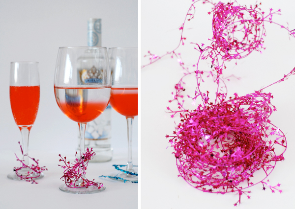 New Years Eve Party Hacks - tinsel drink markers
