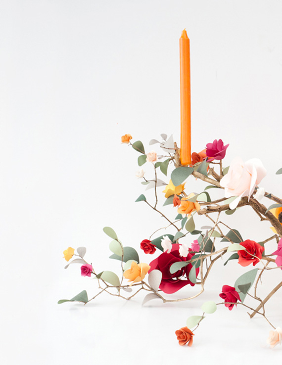 13 bright candle ideas - rose branch candelabra