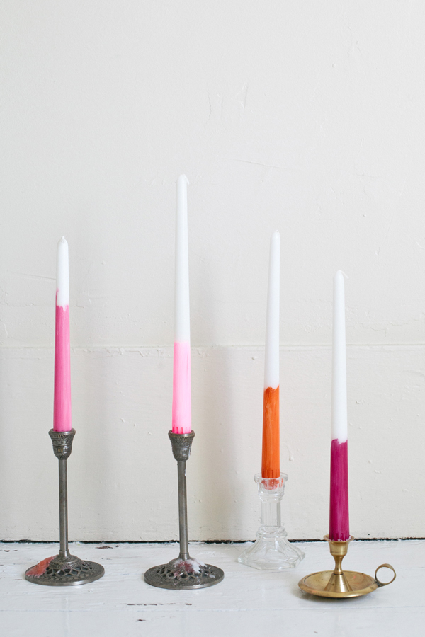 13 bright candle ideas - painted tapers