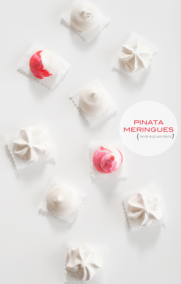 pinata meringues - so sweet and filled with treats! asubtlerevelry.com