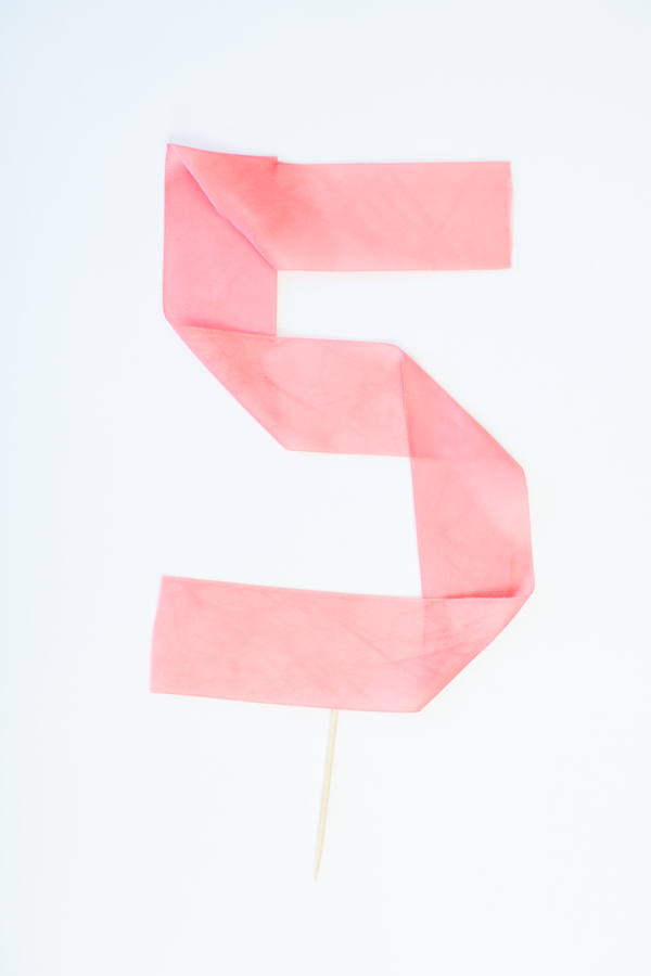 Number five stiffened party ribbon