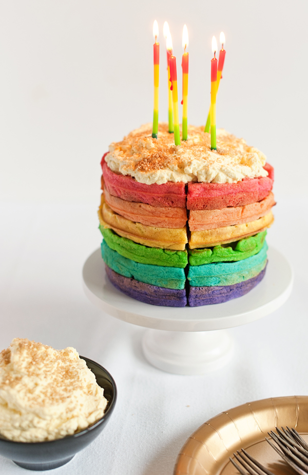 The Colors Bring A Cheery Boost To Lounging Saturday Breakfast And I Cant Wait Rainbow Waffles Say Good Morning Happy Birthday