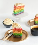 rainbow waffles with pot-of-gold whipped cream