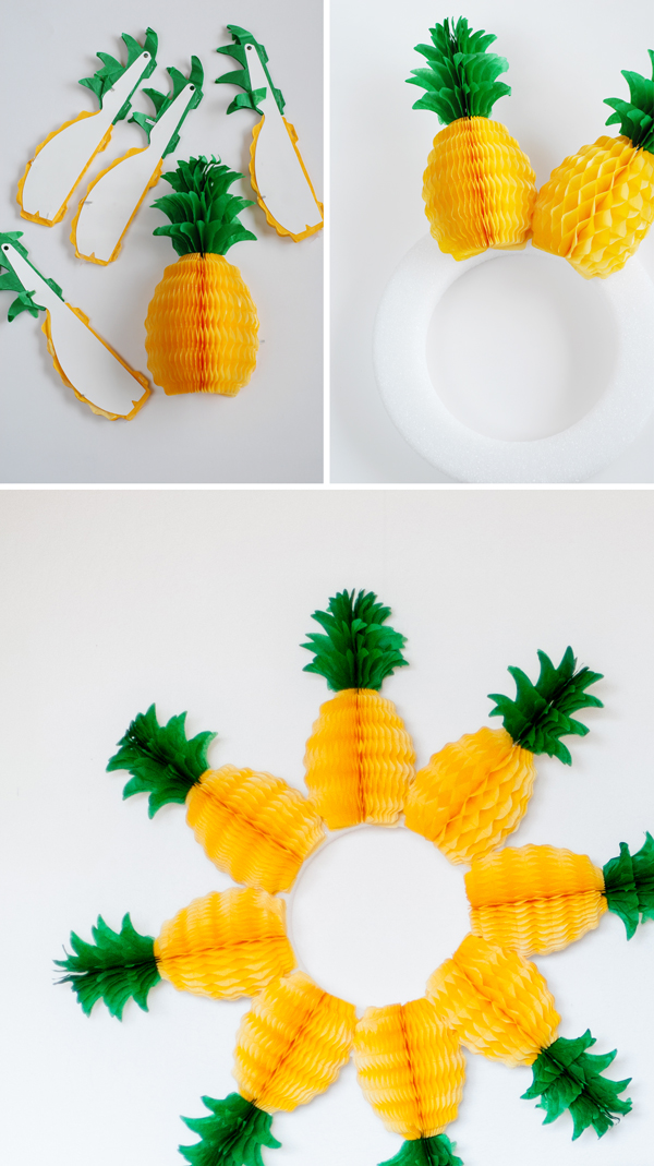 DIY: pineapple honeycomb wreath