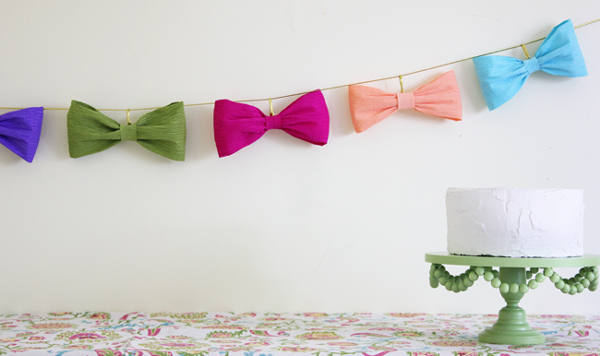 crepe bow paper garland
