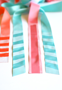 spray painted ribbon wedding favors