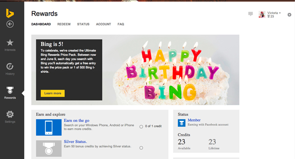 The new Bing rewards