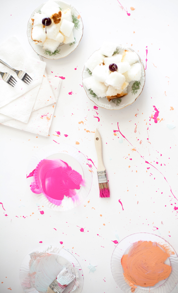 Splatter paint tablecloth