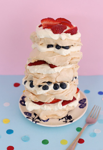 summer berry pavlova stack