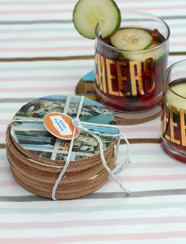 How to make summer postcrd coasters