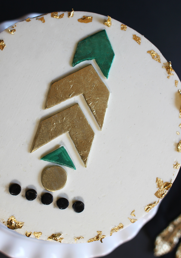 Gold foil cake accents