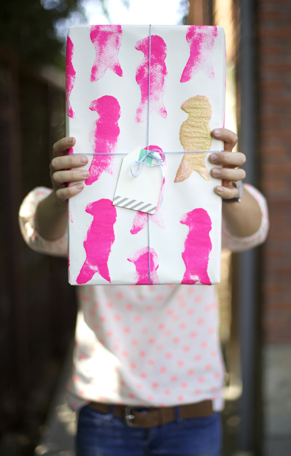 Sponge stamped wrapping paper