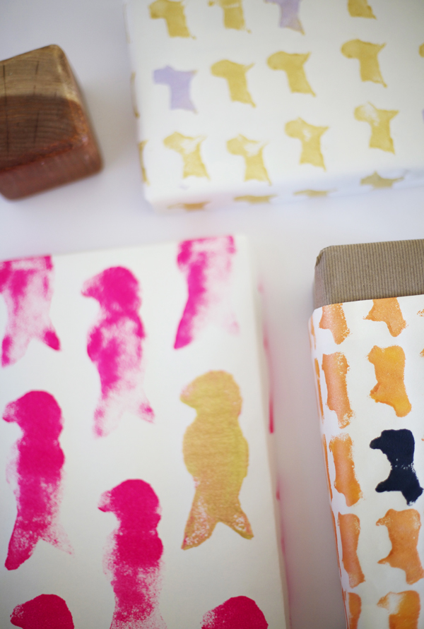 Stamp wrapping paper with a kitchen sponge.