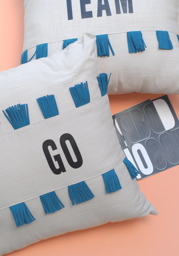 Use adhesive stickers to make your pillows talk - great for a tailgate!