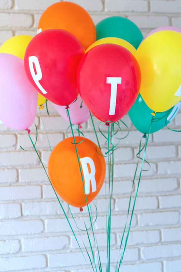 Letter decal party balloons