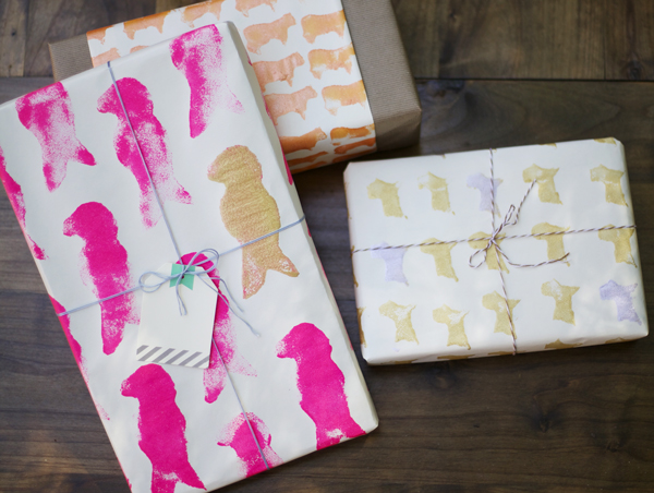 Sponge stamped wrapping