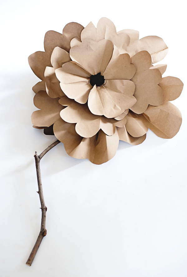 DIY large Kraft paper flower