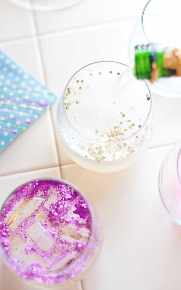 Glitter ice cubes and cocktails