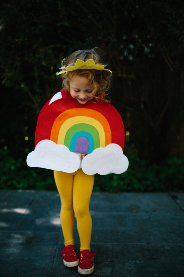 DIY Halloween rainbow kids costume